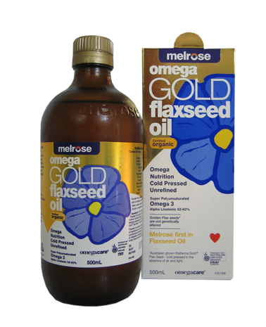 Flaxseed Oil. Melrose Organic Omega Gold. 500ml.