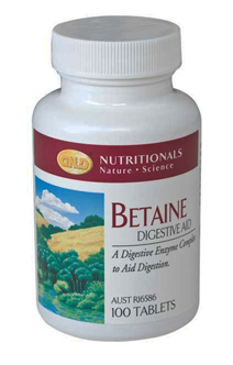 Betaine Digestive Aid. 100 Tablets.