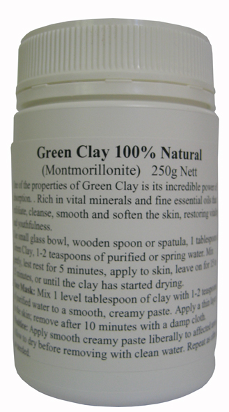 French Green Clay (Montmorillonite). 250g Jar. - Click Image to Close